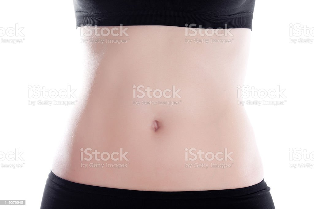 Well toned stomach photo of a woman in black sportswear stock photo