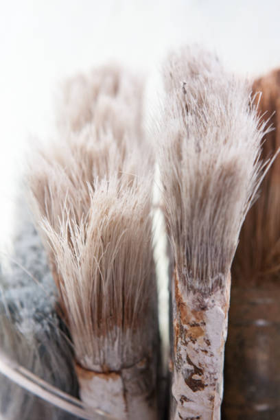 Well Used Paint Brushes stock photo