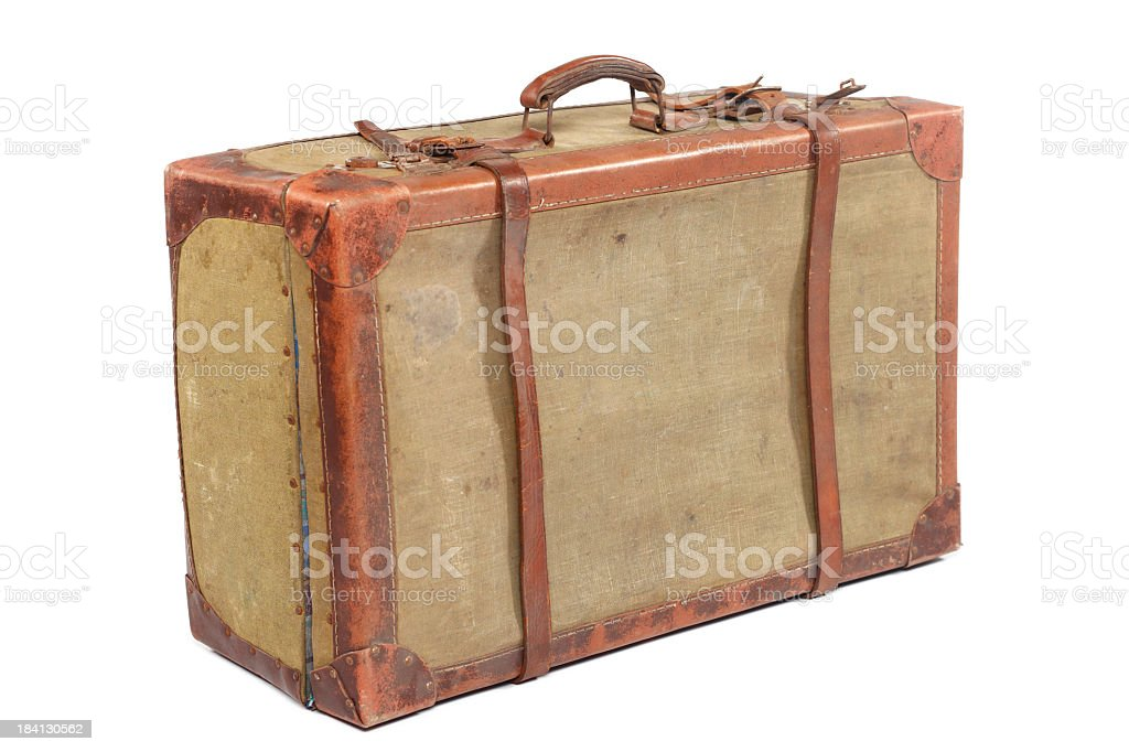 A well used vintage travelling suitcase stock photo