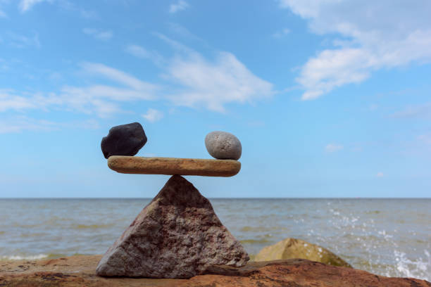 Well-balance of stones on the coast stock photo