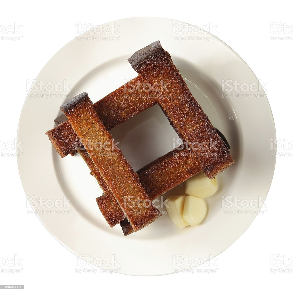 well-built croutons with garlic royalty-free stock photo