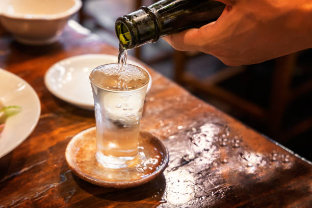 A well-chilled delicious sake stock photo