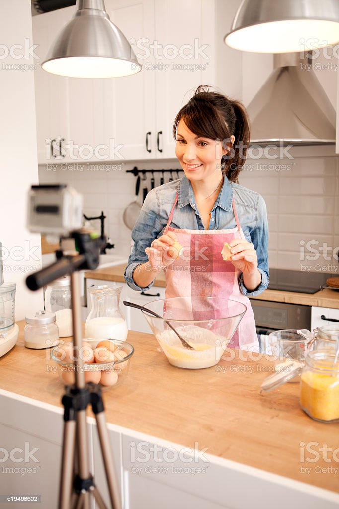 Wellcome to my food video blog stock photo
