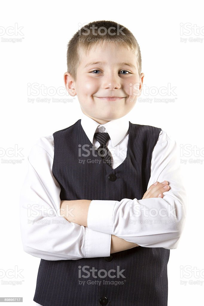 Well-dressed young boy like businessman weared at suit royalty-free stock photo