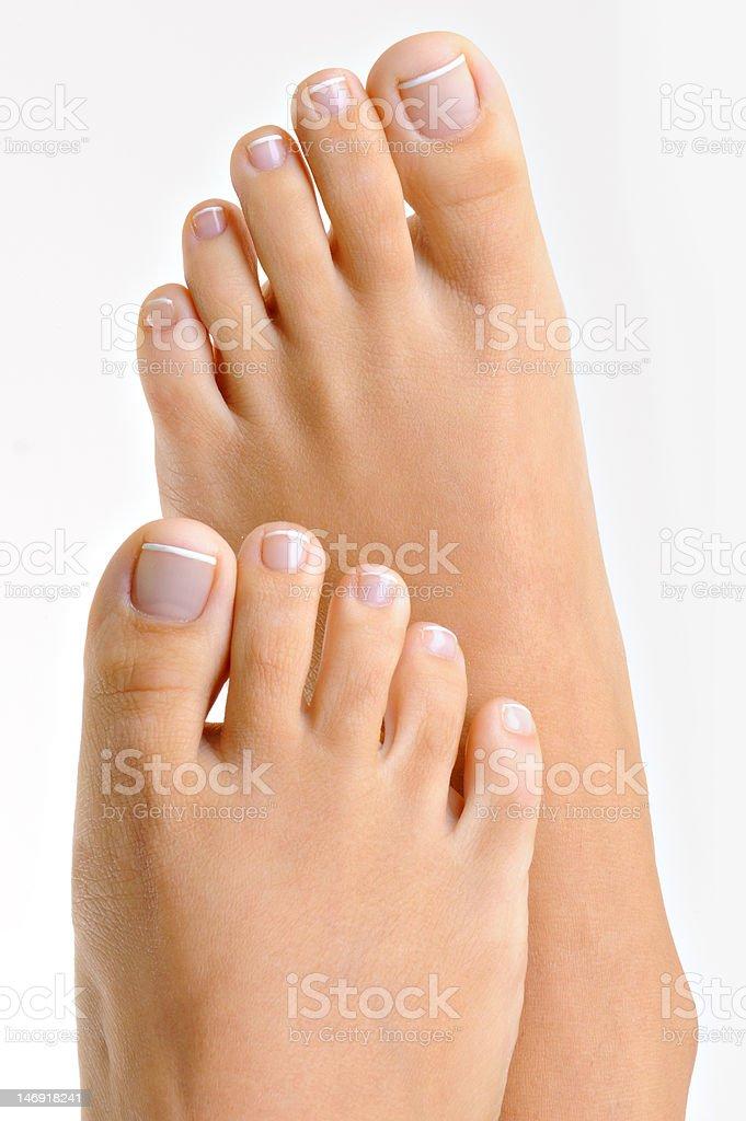 well-groomed female feet stock photo