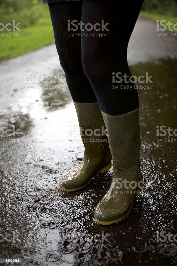 Wellies Splashing in the Rain royalty-free stock photo