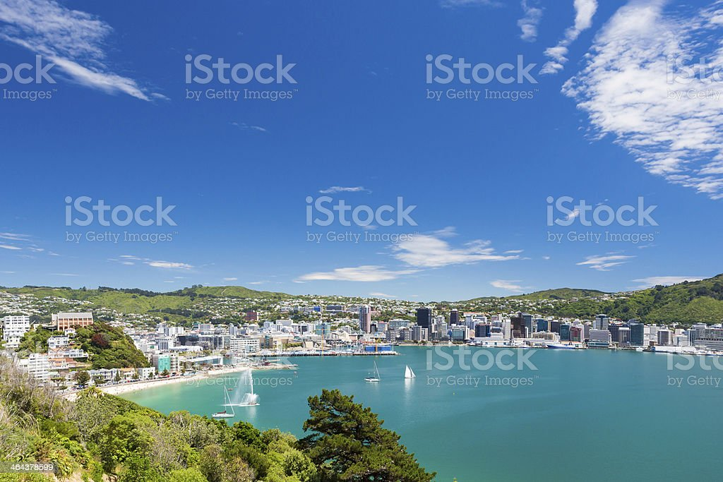 Wellington bay and harbour View from Mount Victoria into the bay of Wellington (capital city of New Zealand) Bay of Water Stock Photo