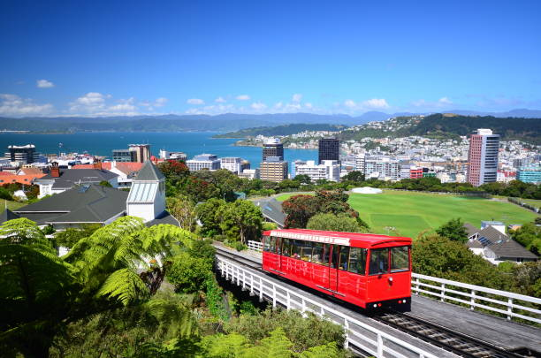 Wellington Cable Car View of New Zealand's capital city wellington new zealand stock pictures, royalty-free photos & images