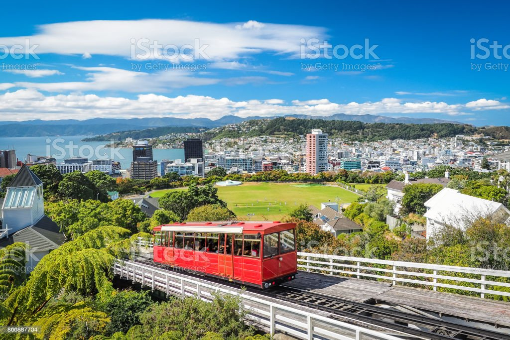 Wellington Cable Car, the landmark of New Zealand. stock photo