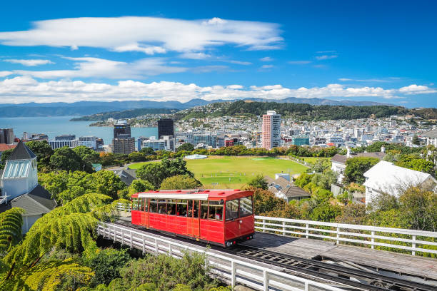 wellington cable car, the landmark of new zealand. - historic vs new stock photos and pictures