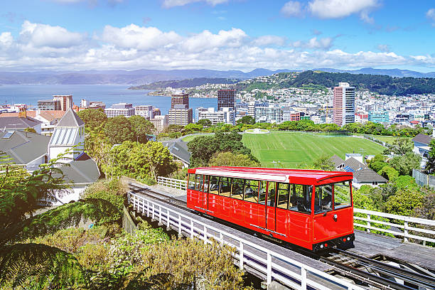 Wellington Cable Car Trolley Cityscape in Summer,New Zealand Wellington Cable Car Red Trolley with Downtown Wellington Cityscape in Summer under beautiful blue summer sky. Wellington, North Island, New Zealand, Oceania. wellington new zealand stock pictures, royalty-free photos & images