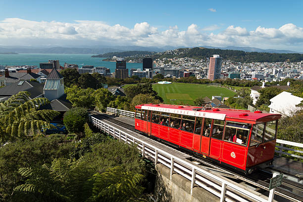 Wellington cable car with city in the background Welling iconic cable car wellington new zealand stock pictures, royalty-free photos & images