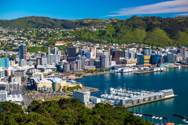 Wellington City Centre Wellington, New Zealand - October 16, 2017 View of Wellington from Mount Victoria. North Island / New Zealand mt victoria canadian rockies stock pictures, royalty-free photos & images
