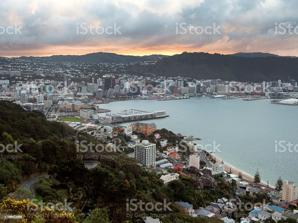Wellington City, New Zealand on a stormy evening stock photo