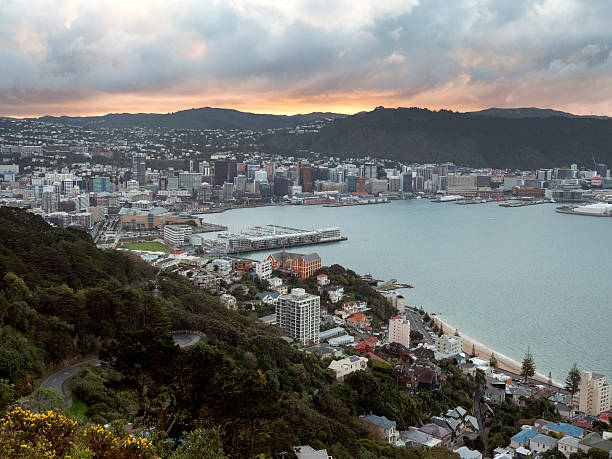 Wellington City, New Zealand on a stormy evening Wellington, capital city of New Zealand, taken from Mount Victoria mt victoria canadian rockies stock pictures, royalty-free photos & images