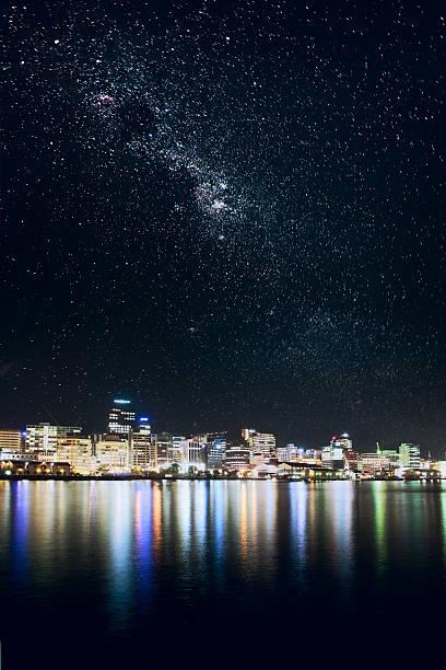 Wellington city under stars stock photo