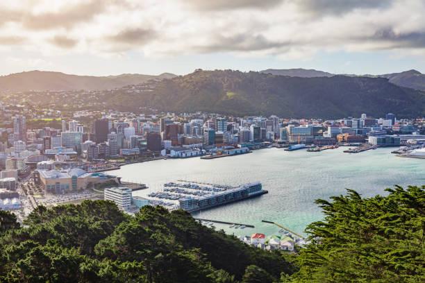 Wellington Harbor Cityscape Sonnenuntergang Neuseeland – Foto