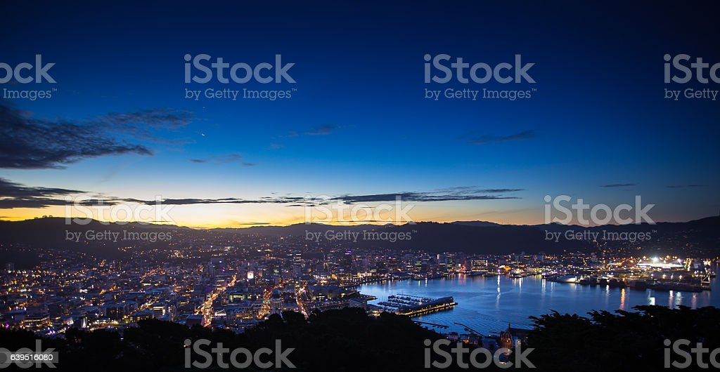 Wellington Harbour and City from Mount Victoria After Sunset stock photo