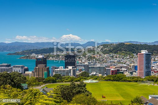 Wellington City panorama, with Cricket Field in the foreground, from the top of the Cable Car towards Mt. Victoria, North Island New Zealand.
