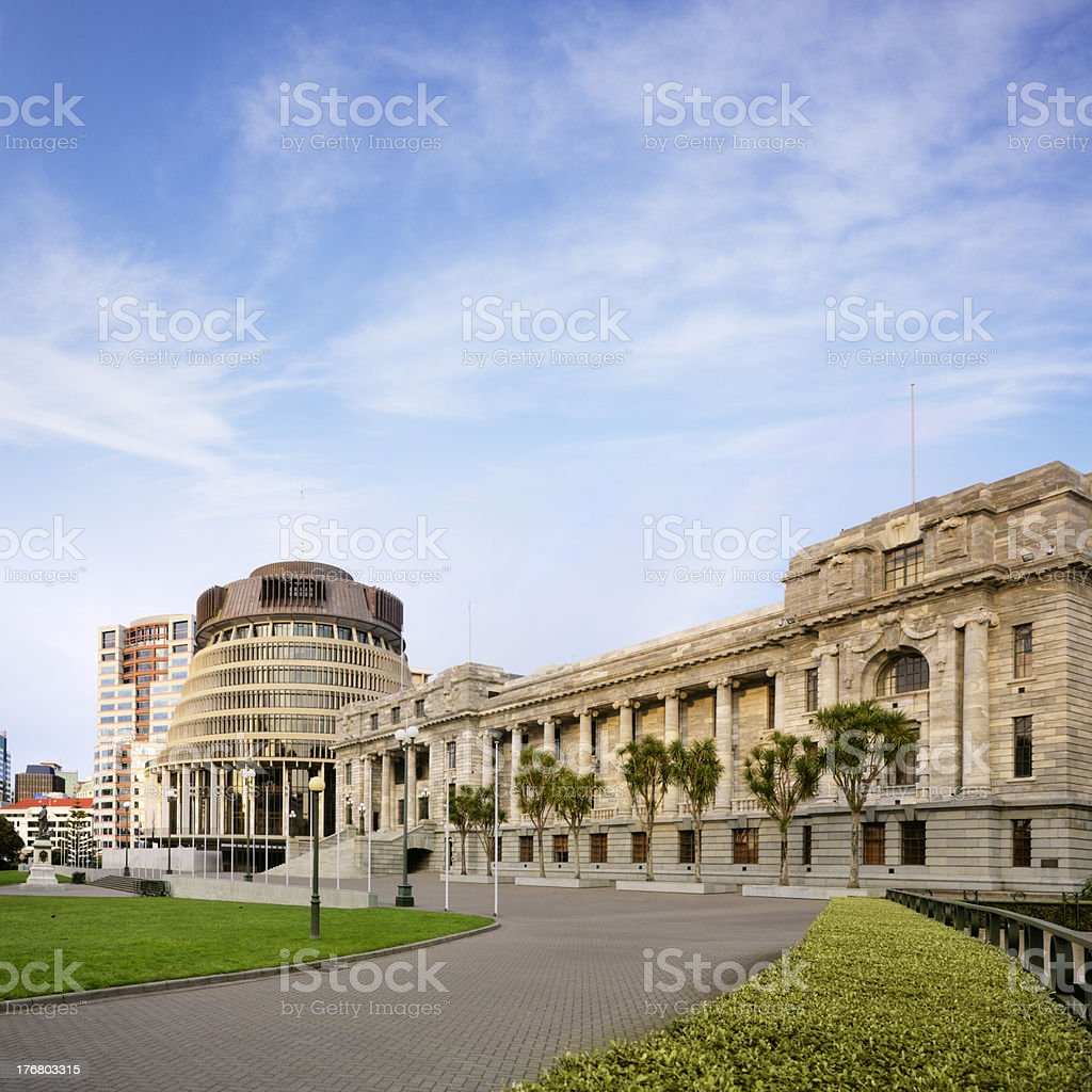 Wellington The Beehive and Parliament House New Zealand stock photo