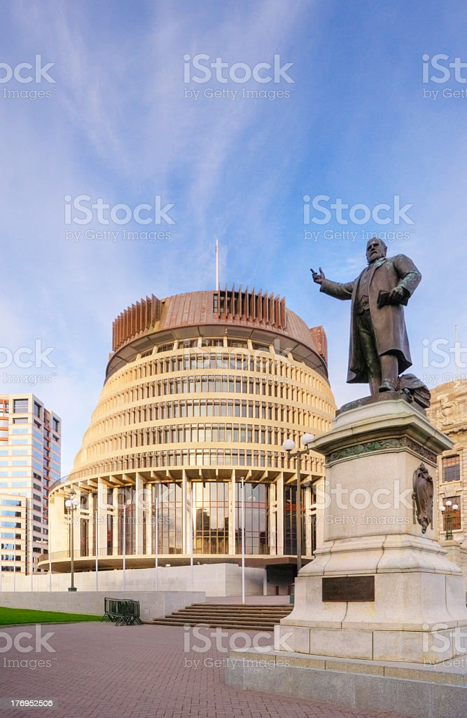 Wellington The Beehive statue at the New Zealand parliament royalty-free stock photo