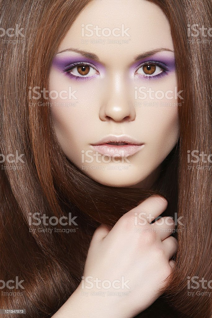 Wellness. Beautiful model with long straight hair stock photo