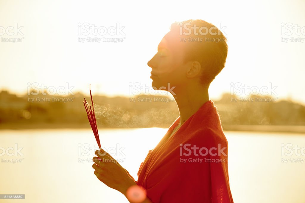 Wellness - Dawn Meditation with Incense Sticks stock photo