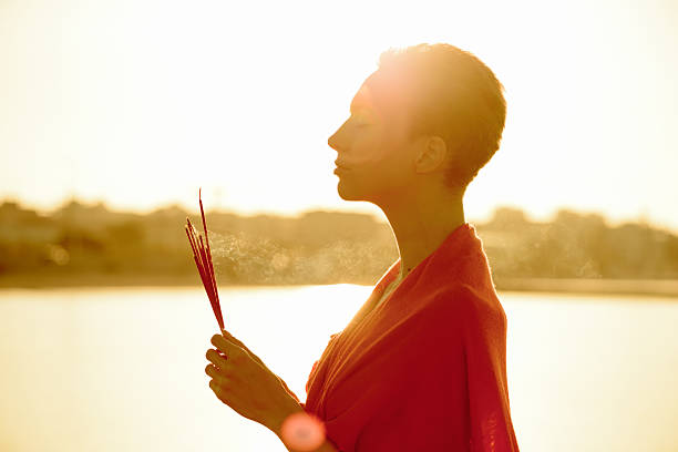 Wellness - Dawn Meditation with Incense Sticks stock photo
