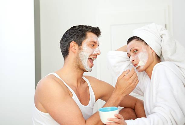 wellness facialmask at home stock photo