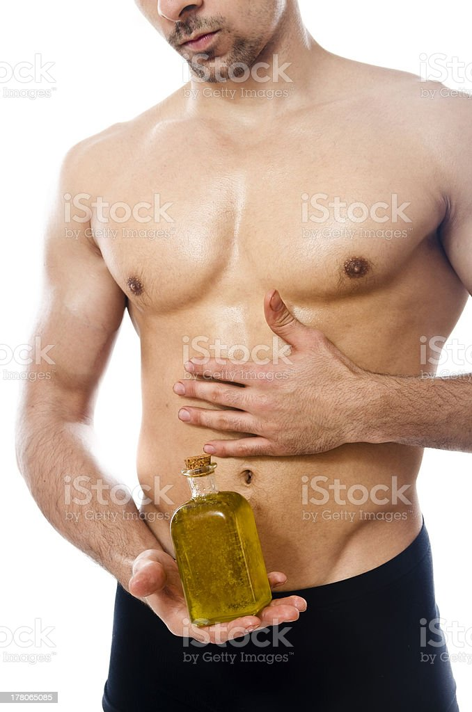 Wellness, fitness and olive oil. stock photo