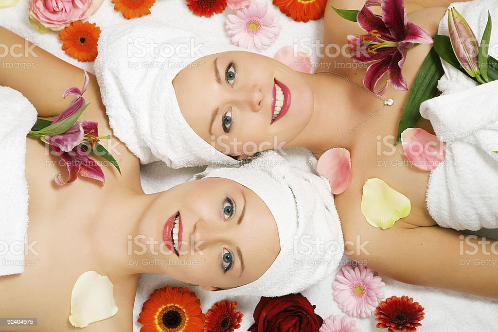 Wellness Girls and Flowers royalty-free stock photo