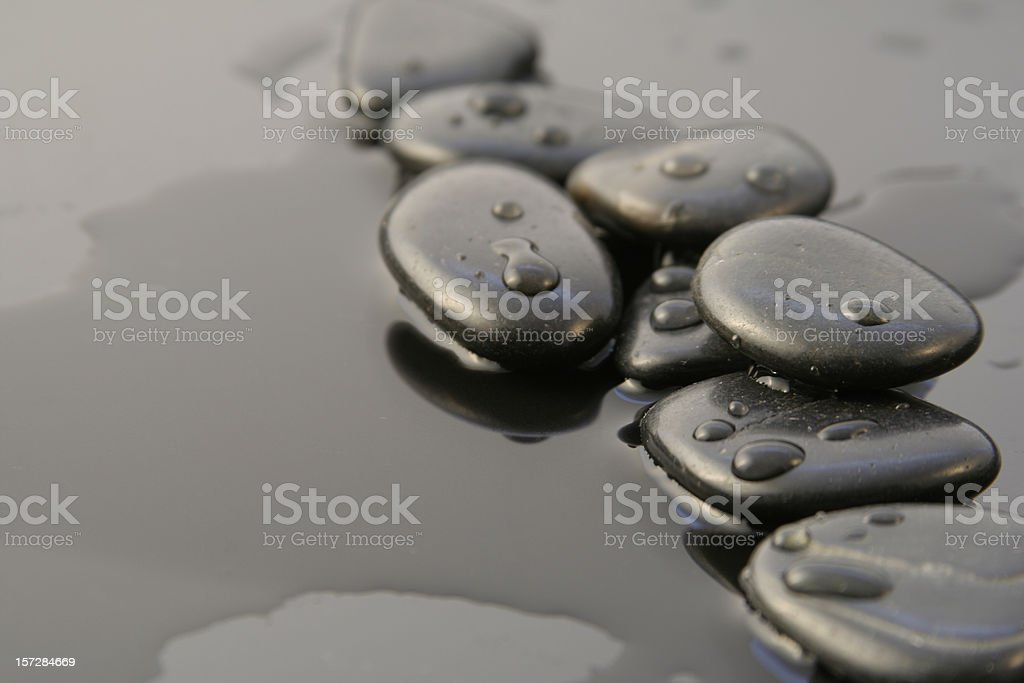 Wellness path with pebbles stock photo