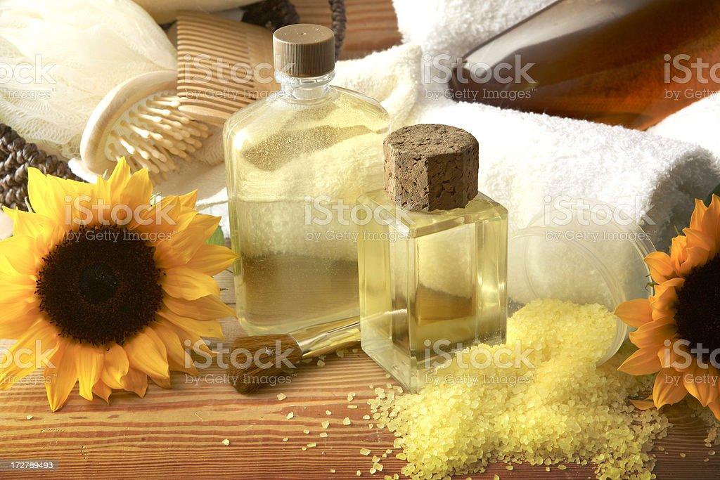 Wellness: Sauna Body Products royalty-free stock photo