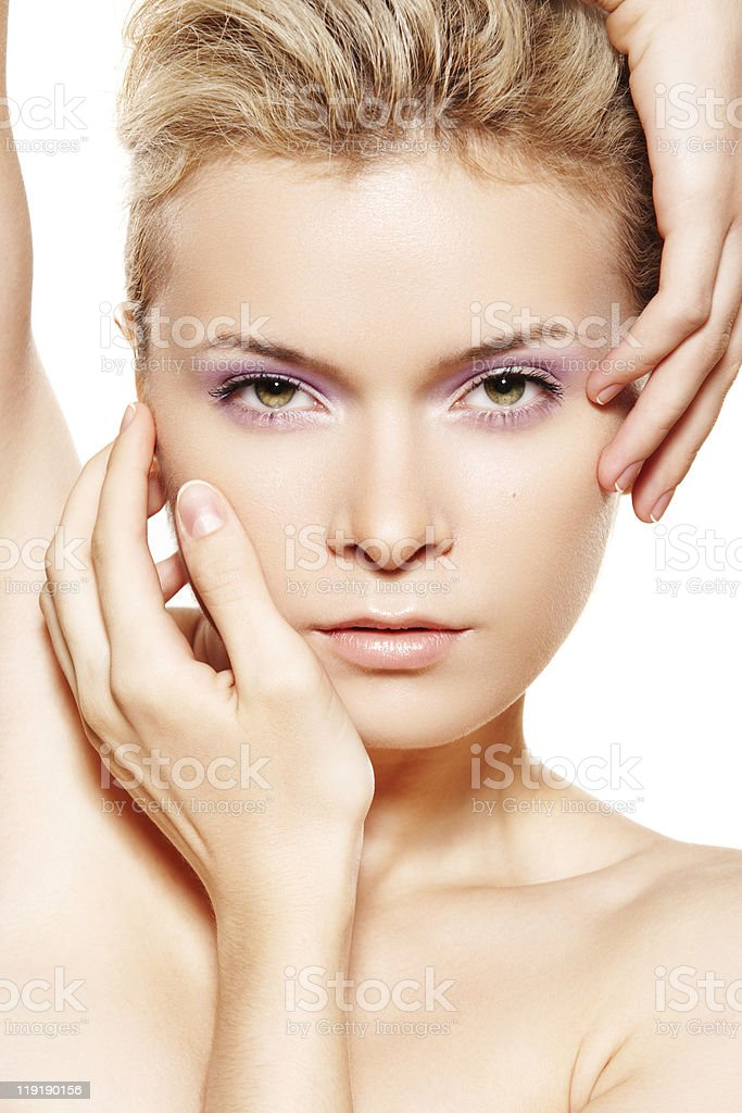 Wellness, sensual woman model with violet make-up stock photo