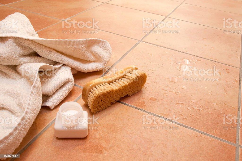 Wellness Towel Brush Bath Salts Wet Terracotta Tile Floor Stock