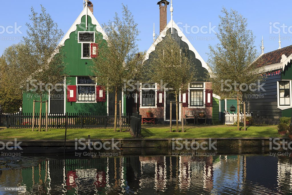 well-preserved historic houses at Zaanse Schans royalty-free stock photo