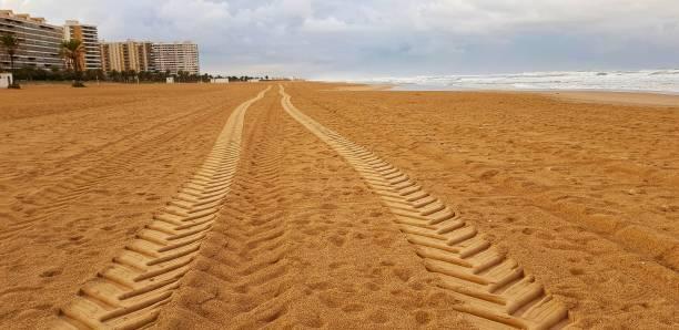 Wellprints en la arena - foto de stock