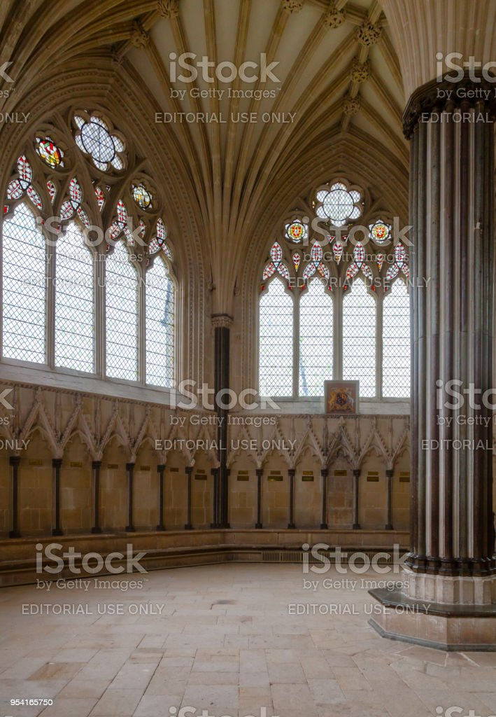 Wells Cathedral Chapter House interior Somerset South West England UK stock photo