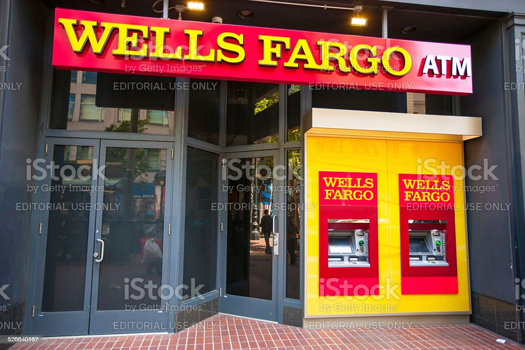 Wells Fargo Bank and ATM in San Francisco, USA stock photo
