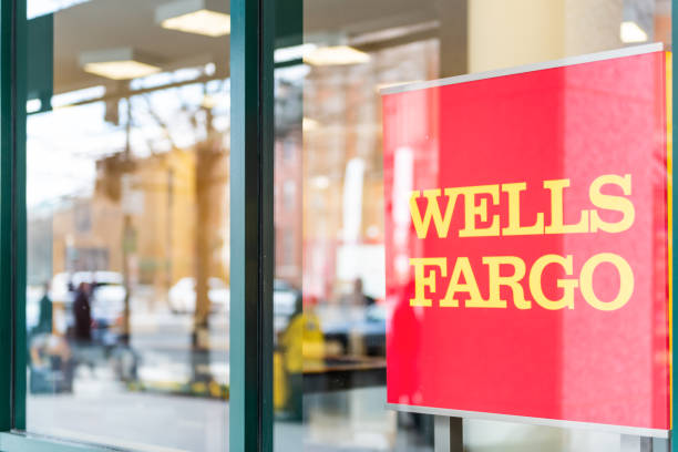 Wells Fargo bank branch entrance with window sign stock photo