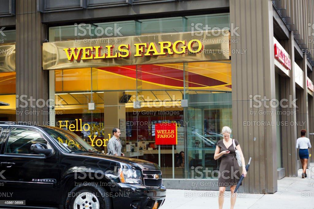 Wells Fargo Bank Branch Manhattan stock photo