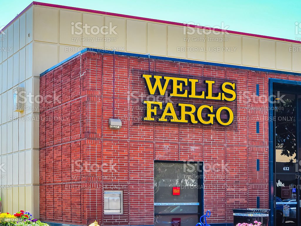 Wells Fargo Bank branch, San Carlos, CA stock photo
