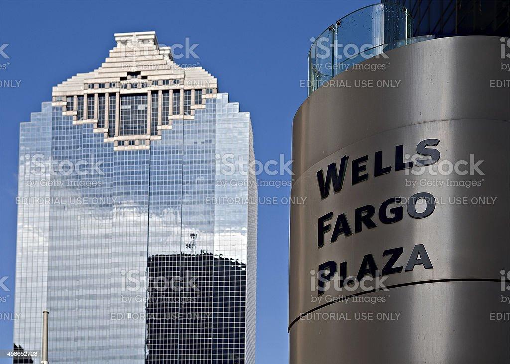 Wells Fargo Plaza Sign stock photo
