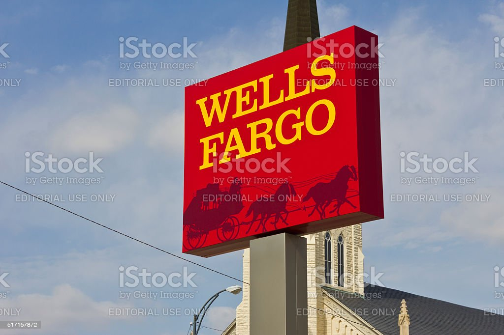 Peru, IN - March 2016: Wells Fargo Retail Bank IV stock photo