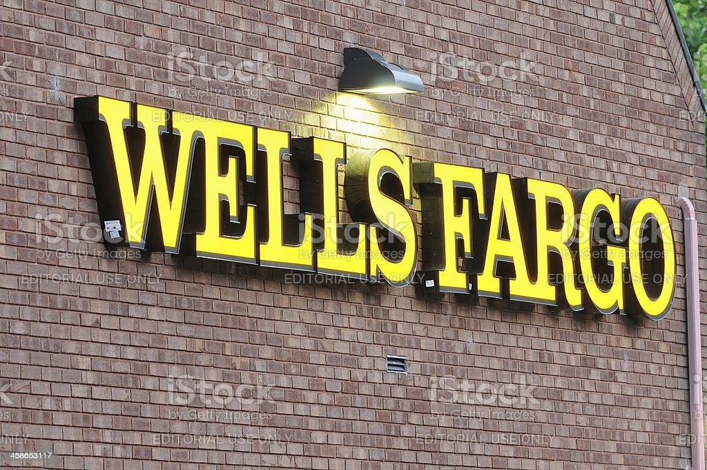 Wells Fargo sign close up stock photo