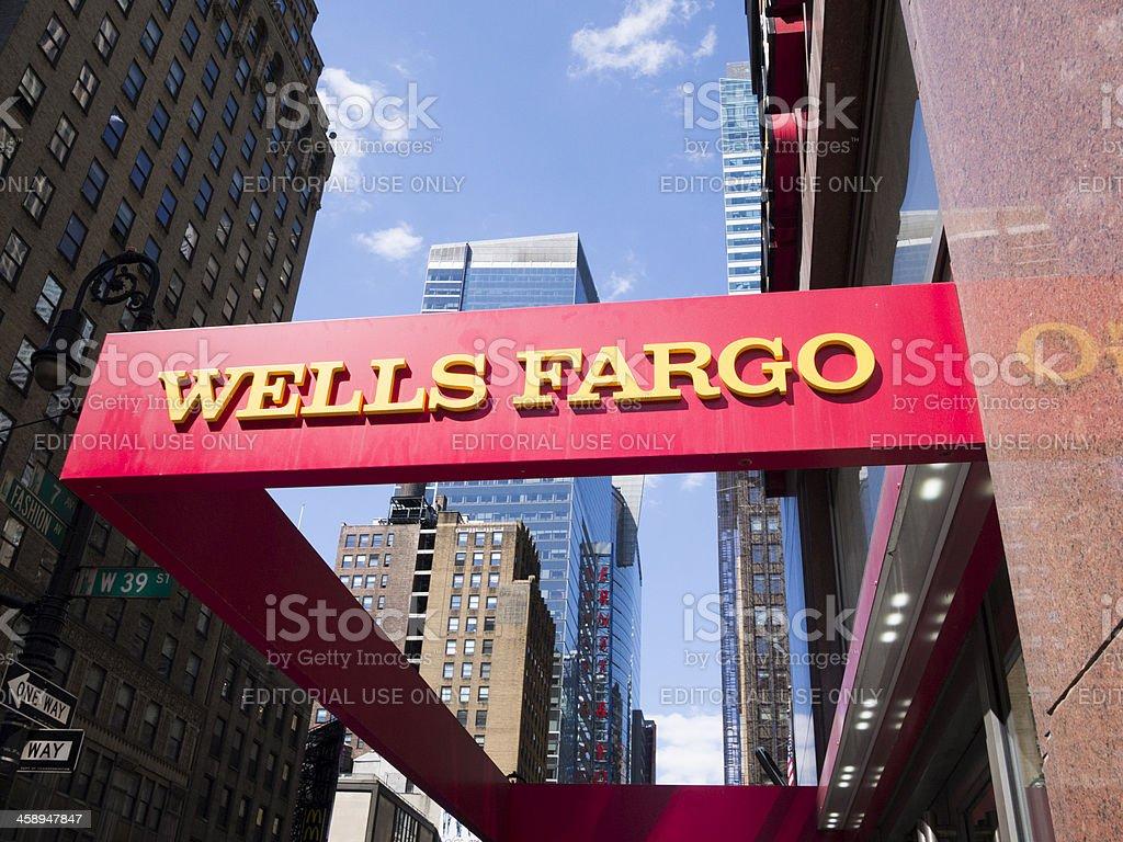 Wells Fargo Sign New York City stock photo