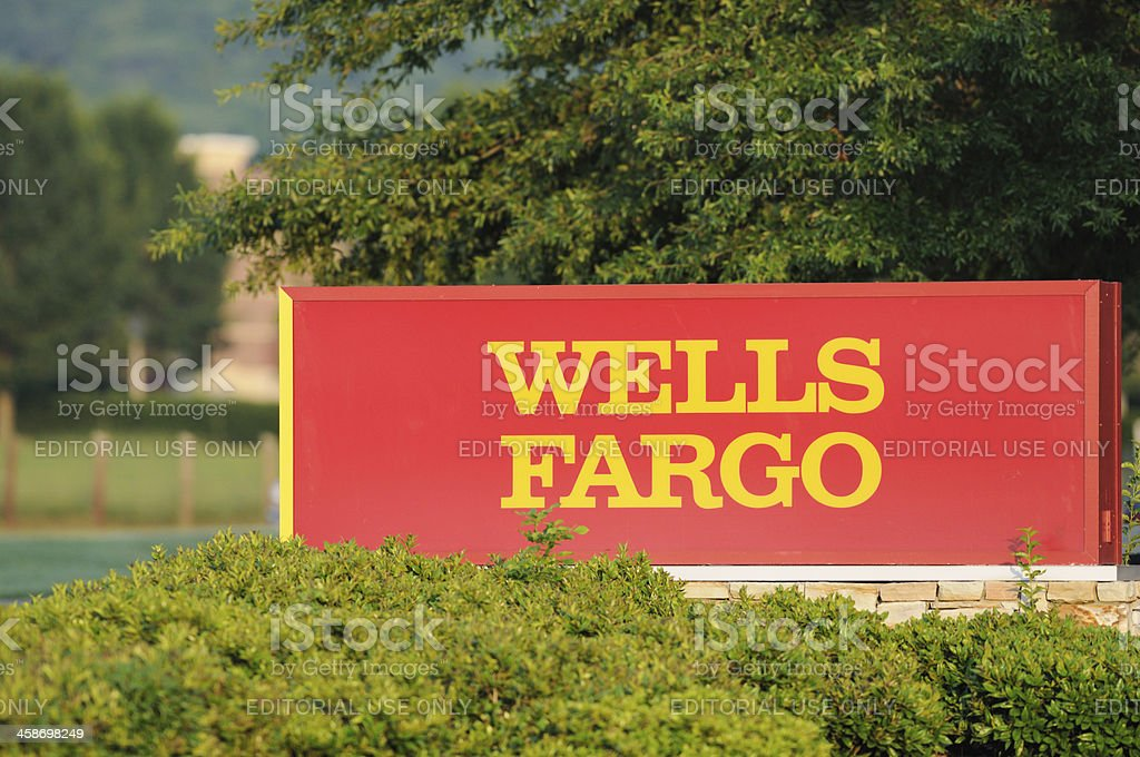 Wells Fargo sign stock photo