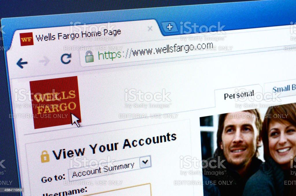 Wells Fargo webpage on the browser stock photo