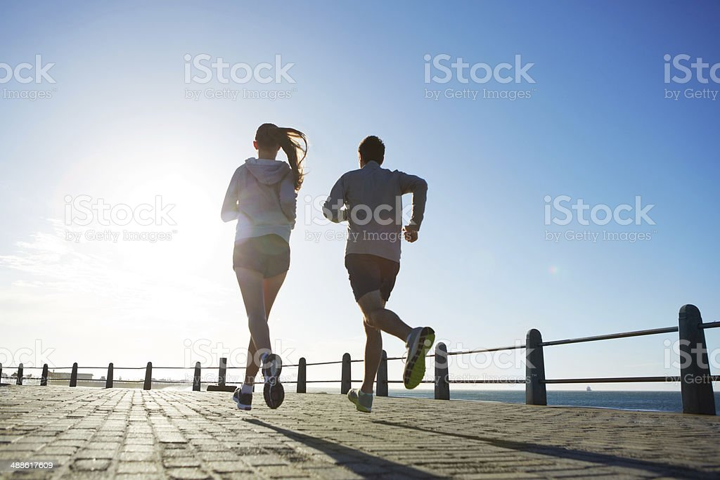 Well-toned silhouettes stock photo