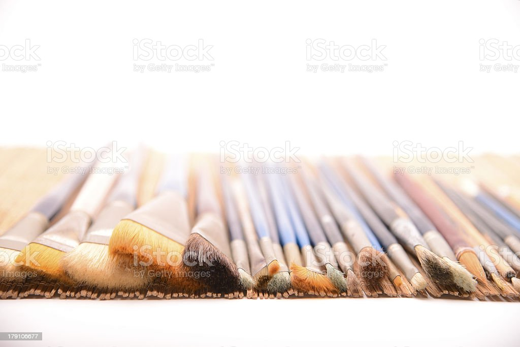 Well-trained routine paintbrushes royalty-free stock photo